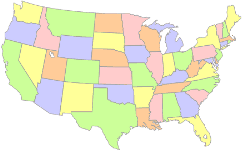 [map of the continental United States]
